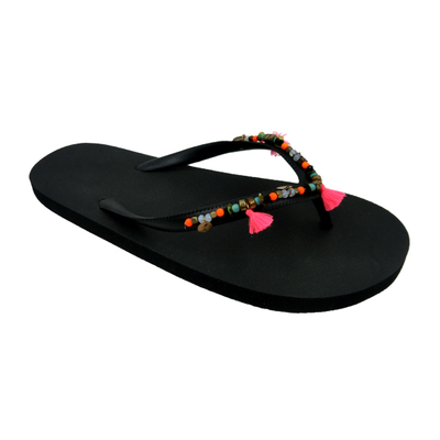 Women Black Flip Flop with Hand Sewing